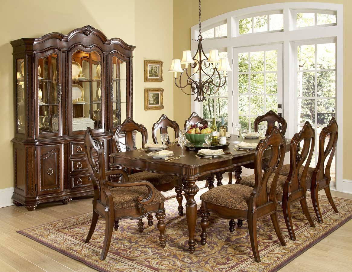 1390 102 Prenzo 9pcs European Warm Brown Wood Formal Dining Table Set