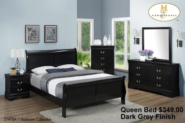 2147bk Queen Sleigh Bed 349 00 Mayville Dark Grey