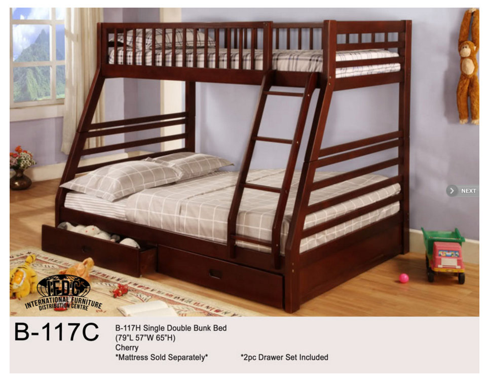 B 117C Single Double Bunk Bed Cherry Finish 5905 Twin Over