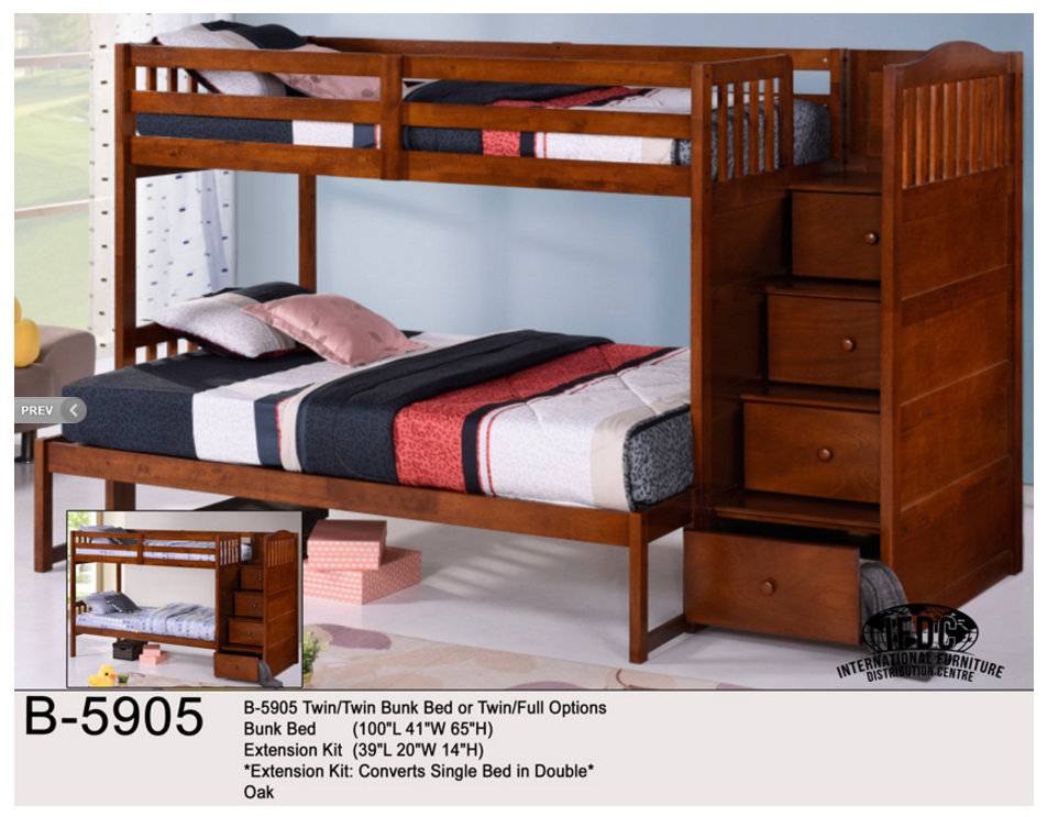 2500W TS Twin Over Bunk Bed White Finish