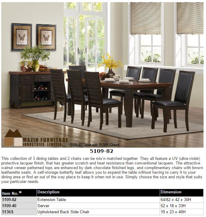 The Aubriella Collection Dining Set 5115 92 Warm Cherry Finish