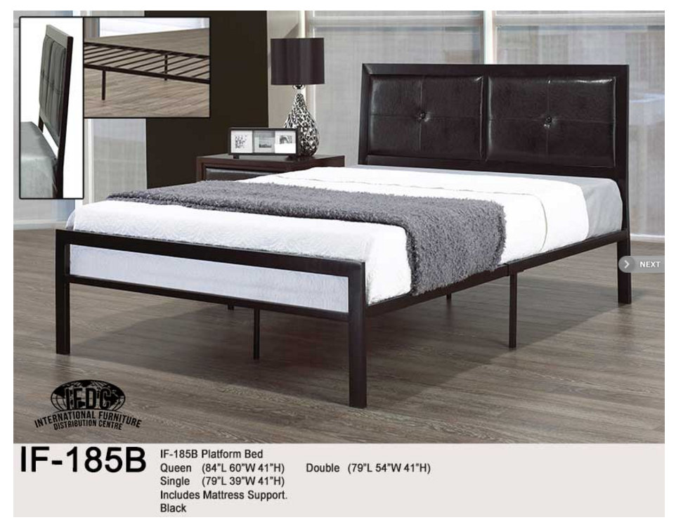 IF 185B Platform Bed Single Double And Queen Size Black Includes Mattress Support